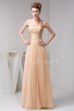 Bridesire - A-line Spaghetti Straps Floor-length Sleeveless Organza Dress [BD41211] - US$112.99 : Bridesire