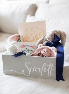 Scarlett's welcome basket! http://www.stylemepretty.com/living/2015/10/29/little-bunny-baby-gift-box/