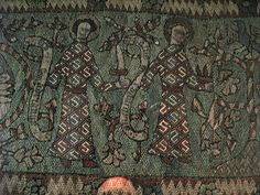 Detail pictures from embroidered hanging (Germany, 14th century)