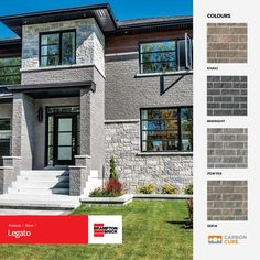 Subtly-textured Legato Series embodies the long-lasting strength and beauty of hand-hewn stone. With colors designed to complement our Vivace Series, combining these products is the ultimate definition of superior aesthetics and lasting durability. Color Khaki, Exterior Design, Brick, Strength, New Homes, Aesthetics, Palette, Design Ideas, Colours