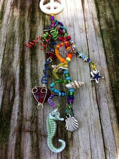 Rainbow peace themed rear view mirror charm by LoveShackShimmies