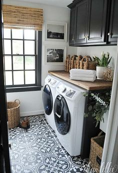 This would be awesome too with teal cabinets Storage Shelves Ideas Laundry room decor Small laundry room organization Laundry closet ideas Laundry room storage Stackable washer dryer laundry room Small laundry room makeover A Budget Sink Load Clothes Room Makeover, Laundry In Bathroom, Room Design, House, Laundry Mud Room, Room Inspiration, Room Remodeling, Sweet Home, Dear Lillie