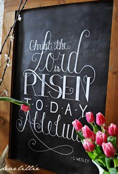 The Lord is Risen! Christian Easter Chalkboard Art - by Dear Lillie Chalkboard Designs, Chalkboard Ideas, Chalkboard Paint, Chalkboard Quotes, Positive Energie, Resurrection Day, Dear Lillie, Easter Parade, Easter 2020