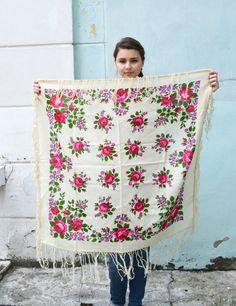 Vintage Ukrainian shawl, Russian Floral Scarf ,russian shawl, floral scarf, head…