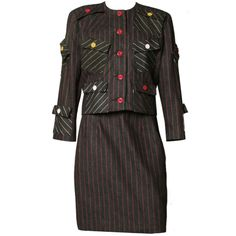 1980's Patrick Kelly Striped Skirt Suit