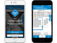 Left: Photo Landmark navigation withGeofencing module, preventing users from getting lost. Right: Blue-Dot navigation for non-complex buildings