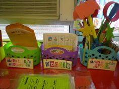 Center Organization - Third Grade Love  Could have a different bin for each level and inside the bin include manipulatives, leveled readers or all materials needed for that center