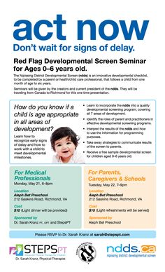 Developmental Screening Tool for children ages 0-6 years old. May 21 and May 22 at Aleph Bet Preschool. Get a free screen!