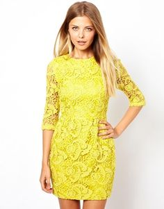 I love this dress in yellow but it also comes in black ASOS PETITE Exclusive Shift Dress In Crochet Lace With Cut Out Back and 3/4 Sleeve $103.48 - us.asos.com