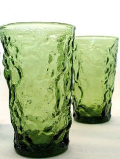 Retro Dishes Green Textured Vintage 1970s Juice Drinking Glasses Set of 2