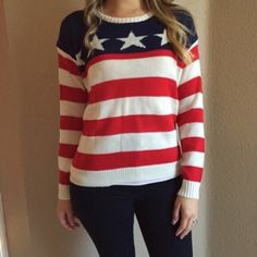 'Merica Woven Sweater ✌️ (LAST SM!) Brand new Woven American Flag Sweater. Stars and Stripes front with red and white striped back. Fits true to size. Modeling a medium. Comes brand new with tags. No flaws. Available in S & M. No Paypal. No trades. 15% discount on all 3+ item bundles made with the bundle feature. No offers will be considered unless you use the make me an offer feature.      Please follow  Instagram: BossyJoc3y  Blog: www.bossyjocey.com Sweaters Crew & Scoop Necks