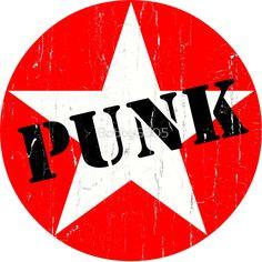 PUNK - Road worn - Distressed - Grunge - Star Logo