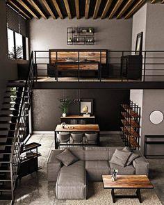 Loft Interior Design, Industrial Interior Design, Loft Design, Home Room Design, Interior Architecture, Living Room Designs, Industrial Loft, Living Spaces, Loft House