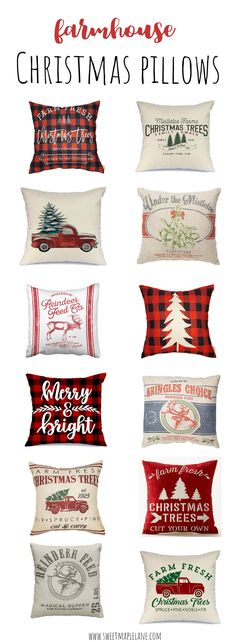 Farmhouse style Christmas pillows and pillow covers