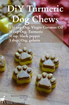 Awesome DIY dog treats with very beneficial ingredients - including turmeric! Both delicious and great for your dog's health #Dog
