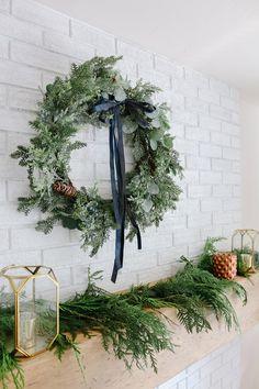 Modern Farmhouse Christmas Living Room with Navy + Copper + Rose Gold - 1111 Light Lane Modern Christmas, Blue Christmas, Christmas Home, Christmas Ideas, Christmas Crafts, Merry Christmas, Xmas, Navy And Copper, Copper Rose