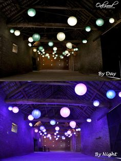 Paper lanterns lit with normal bulbs at the top, then at the push of a button, the lanterns transform the barn with synchronised colour change mode. Unique wedding lighting solutions by Oakwood Events