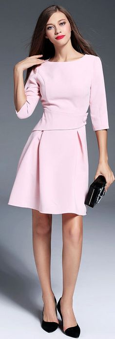 Pink Half Sleeves Mini Dress