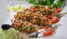 Sardines topped with Chermoula Outside Catering, Catering Companies, Banting, Food Design, Starters, Finger Foods, Sushi, Restaurant, Meals