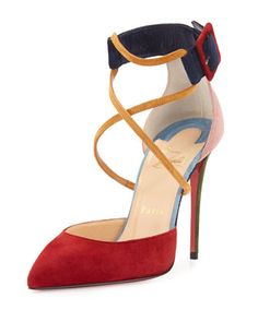 Suzanna+Colorblock+Crisscross+Red+Sole+Pump,+Multi+by+Christian+Louboutin+at+Neiman+Marcus.