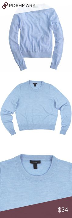 "JCREW Heather Shoreline Merino Crewneck Sweater Size - L  This heather shoreline blue merino wool crewneck sweater from JCREW is in excellent condition. It features a crew neckline, and a slightly cropped length. Made of 100% Merino Wool.  Measures: Bust: 41"" Total Length: 21"" Sleeves: 26"" J. Crew Sweaters Crew & Scoop Necks"