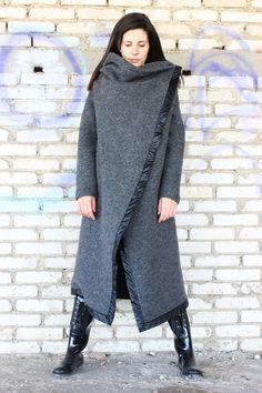 7d43b7fb1f41 Oversize Coat  Winter Warm Coat Plus size Coat  ASYMMETRIC coat  Long Wool  Coat  Loose Jacket  Winte