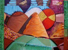 Landscape Hungary OIL modern POP ART signed art Diego Castro colorful artwork
