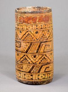 Mayan Polychrome Cylinder Vessel.