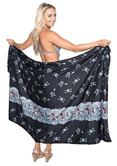 La Leela Pirates PLUS Likre Women Skirt Sarong Halloween Wrap 88X42 Inch Black Valentines Day Gifts 2017 ** BEST VALUE BUY on Amazon