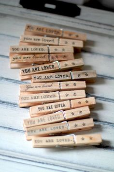 ~Clothespins -  note holder, photo clipper - you are loved. (set of 12). $15.00, via Etsy.~