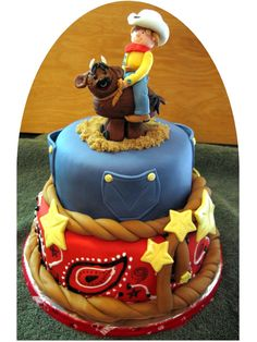 Awesome Western Party cake with cowboy riding a bull....!