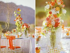 Mod orange. Love the decadent florals and orange ribbon on chairs.