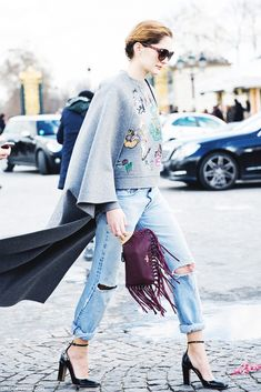 Embellished sweater + ripped boyfriend jeans + fringe clutch + ankle strap patent leather heels