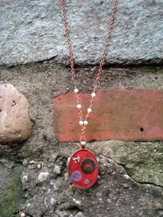 Red Found Items Resin Pendant Necklace, $17.00 Made by Lucy Barr (En Plein Air Jewelry)
