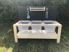 Triple Plastic Sink Mud Kitchen With Lower Shelf Diy Mud Kitchen, Mud Kitchen For Kids, Diy Outdoor Kitchen, Smeg Kitchen, Outdoor Food, Country Kitchen, Kitchen Ideas, Kitchen Design, Kitchen Cabinets