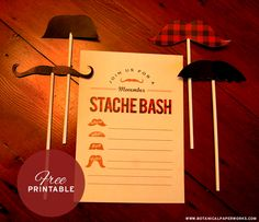 Love these Free Printable Movember Party Invites and Mustaches!