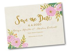 Fanciful Floral Date Save the Date Card
