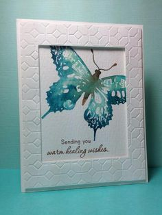 handmade card ... look of a framed painting ... luv the embossing folder texture of the raised frame ... SU swallowtail stamped using the faux water color look ... lovley card! ... Stampin'Up!