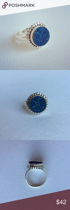 """SALE Bright Blue Round Druzy Sterling Silver Ring Like sunlight glimmering on the surface of the blue ocean, this round druzy sparkles in a sterling silver bezel setting. The ring is approximately size 6. The round is approx. 5/8"""" diameter. Ring is hallmarked 925. New, no tags. Jewelry Rings"""