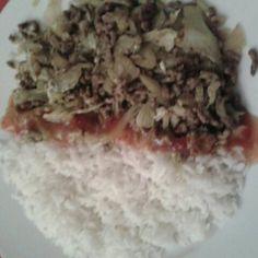 Spitskool met gehakt en witte rijst