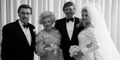 Donald Trump and Marla Maples with father Fred Trump and mother at his wedding.