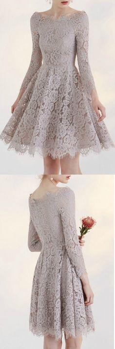 Charming Full Lace A-line Off the Shoulder Party Dress Homecoming Dress Prom Dress with 3/4 Sleeve #partydress