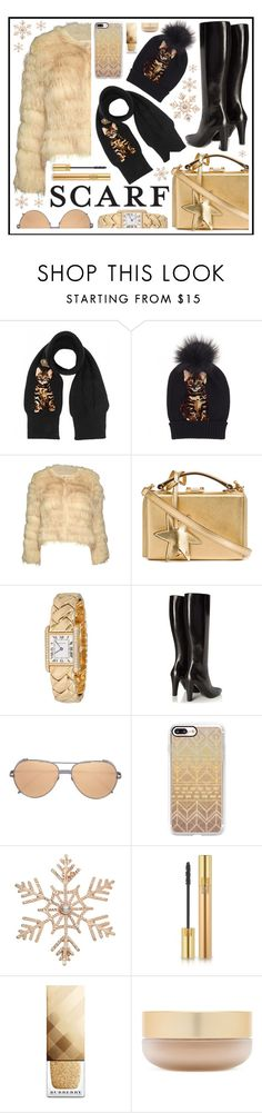 """scarf"" by sandevapetq ❤ liked on Polyvore featuring Dolce&Gabbana, Alice + Olivia, Mark Cross, Cartier, Yves Saint Laurent, Linda Farrow, Casetify, John Lewis, Burberry and Eve Lom"