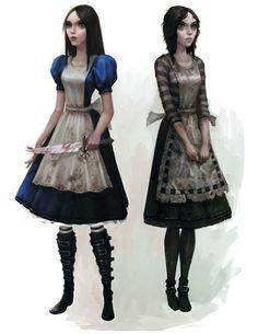 Alice Madness Returns- Wonderland and London dress designs.