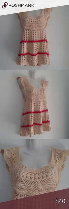 "Free People Knit Crochet Boho Blouse Top Size XSmall. Very cute crochet design :) Very good preowned condition, no flaws. Open to Offers :)  Pit to pit: 14.75"" Length: 27""-28"" Free People Tops"