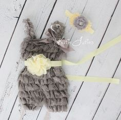 Yellow and Gray Romper, Sash, & Headband- Cake Smash, Birthday, Baby, Girl, Newborn, 1st Birthday, Flower Girl, Toddler, Photo Prop