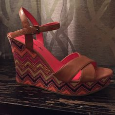 Multicolored wedges Tan straps with multicolored wedge heels. Very good condition. American Eagle by Payless Shoes Wedges