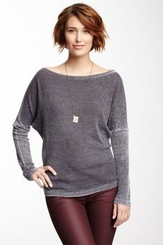 Boatneck Thermal Tee by Go Couture on @HauteLook