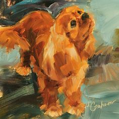 Always Wagging by Lindsey Bittner Graham Oil ~ 6 x 6 Ruby Cavalier King Charles Spaniel