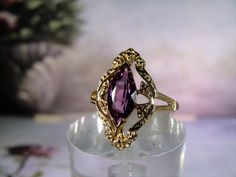 10K Gold Ring, Alexandrite Gold Ring, Alexandrite Ring, Marquise Alexandrite Ring, Alexandrite Marquise, Color Change Stone – Size 7 by CarolsVintageJewelry on Etsy